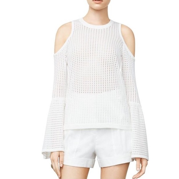 60f289d6285880 NWT BCBG Lucia Cold Shoulder Top white small